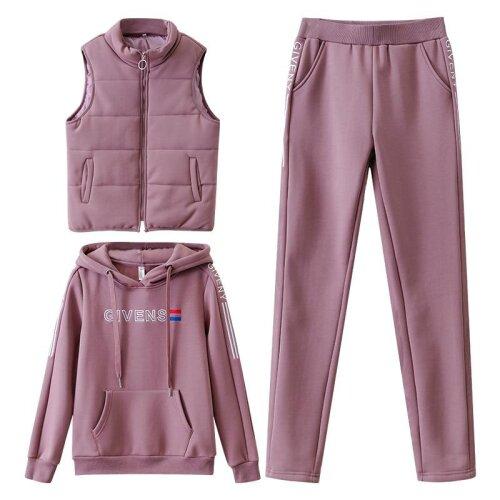 Women Tracksuit Winter, Set Hoodies+Vest+Pants, Casual Suit, Velvet Warm Sporting Women,s, Female Clothes