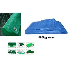 KAV - Universal Premium Cover lightweight 80 GSM Heavy Duty plastic Waterproof Tarpaulin Tarpoline tarpaulins Ground Sheet in Blue or Green For campin