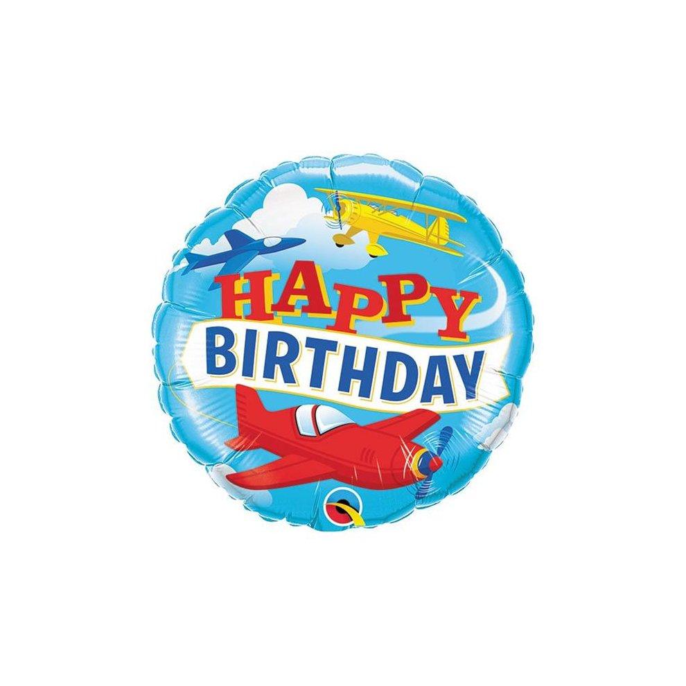 Birthday Airplanes Qualatex 18 Inch Foil Balloon