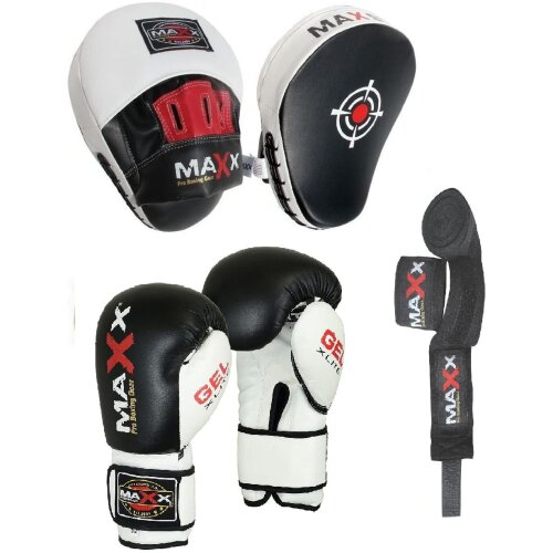 (6oz Glove) Focus pads Set  with BOXING GLOVES |  CURVED Jabs