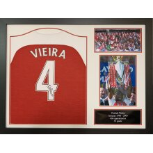 Framed Patrick Vieira signed Arsenal shirt with COA and proof