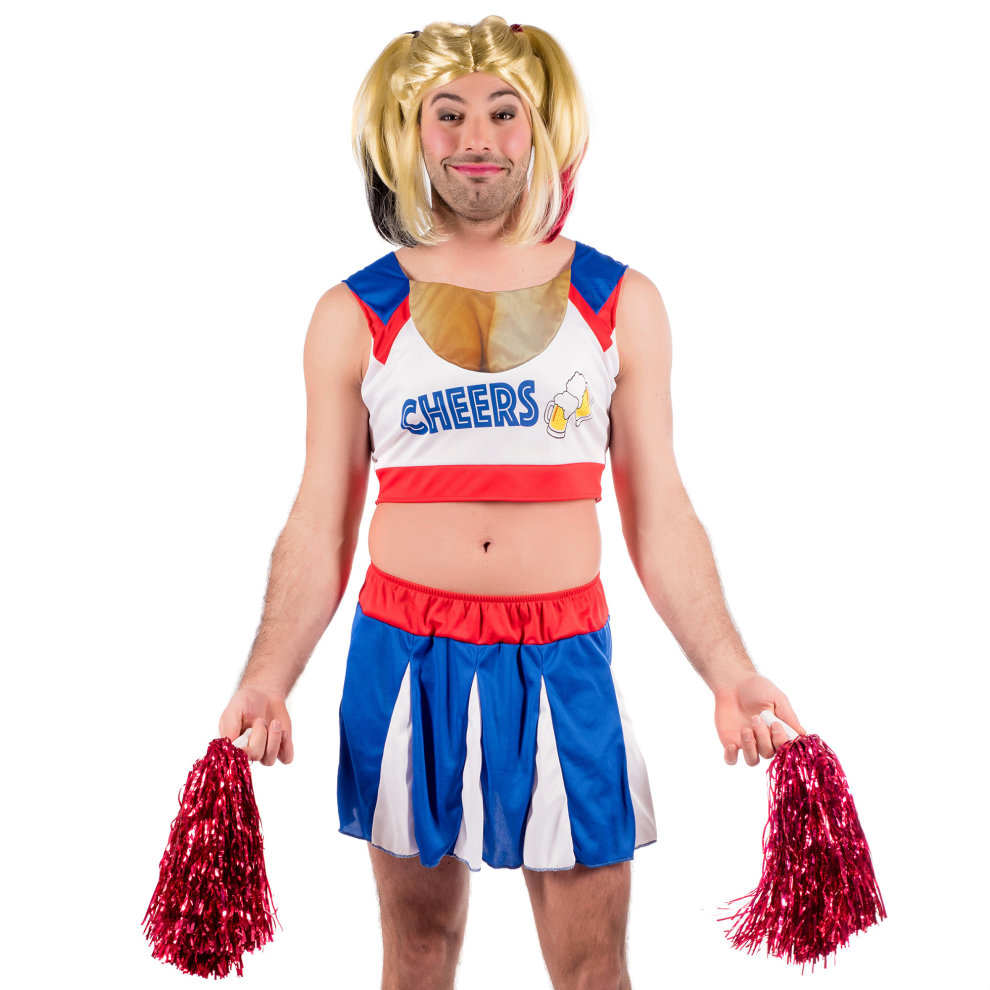 Adult Mens Red Hot High School Cheerleader Fancy Dress Costume Stag Do Comedy