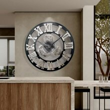 60CM EXTRA LARGE ROMAN NUMERALS SKELETON WALL CLOCK OPEN FACE ROUND