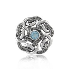 Art Nouveau Style Round Marcasite & Blue Topaz Celtic Style Brooch in 925 Sterling Silver