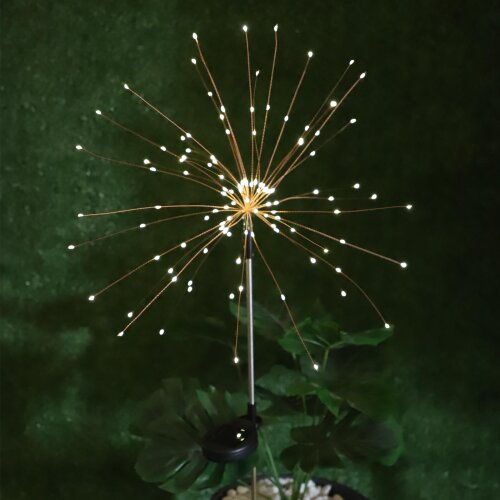 (Warm White) 120 LED Solar Powered Firework Starburst Stake Light Warm White