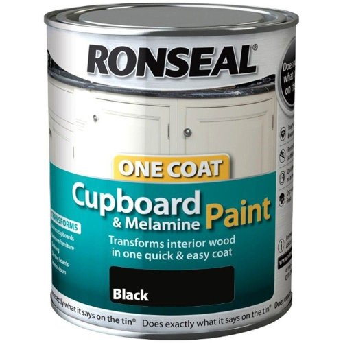 Ronseal One Coat Cupboard Melamine & MDF Paint 750ml - SATIN Black