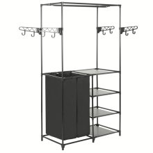 vidaXL Clothes Rack Steel and Non-woven Fabric Black Closet Organiser Stand