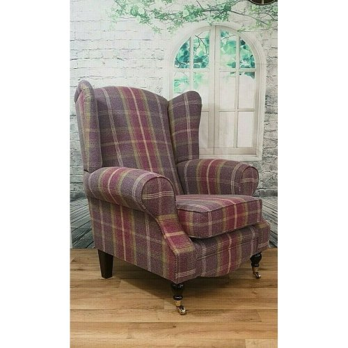 Queen Anne Cottage Style Arm Chair - Balmoral Amethyst Tartan Fabric