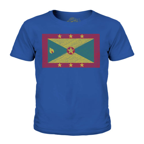 (Royal Blue, 9-10 Years) Candymix - Grenada Scribble Flag - Unisex Kid's T-Shirt