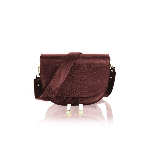 """Woodland Leather 9.0"""" Burgundy Single Shoulder Carry Handle Bag Tassle Front"""