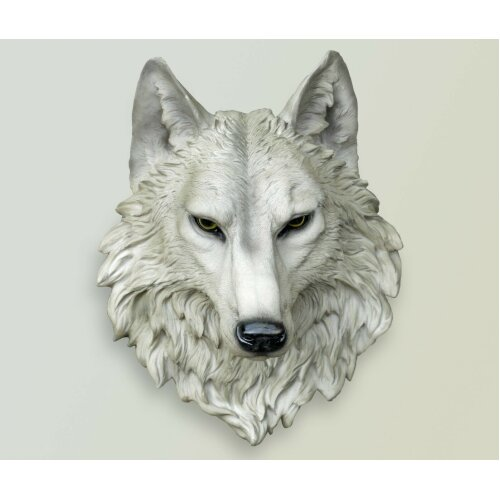 Grey Wolf Head Ornament Resin Hanging Wolf Sculpture Wall Mount Decor