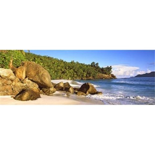 Rocks on a small beach on North Island  Seychelles Poster Print by  - 36 x 12