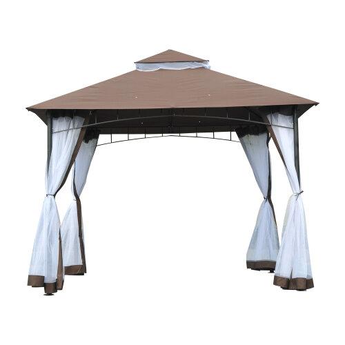 Outsunny Garden Gazebo Wedding Canopy Shelter Mesh Squre Party Brown 3 x 3m