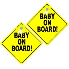 2pk Baby On Board Signs   Bright Yellow Baby Sticker for Car