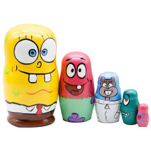 Matryoshka Russian Wooden Educational Toy Spongebob Doll 5-Layer