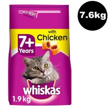 WHISKAS 7+ Complete Dry with Chicken 4x1.9kg