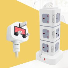 Tower Socket Extension Lead 3M 12Way Cable Surge Protected Power 4 USB