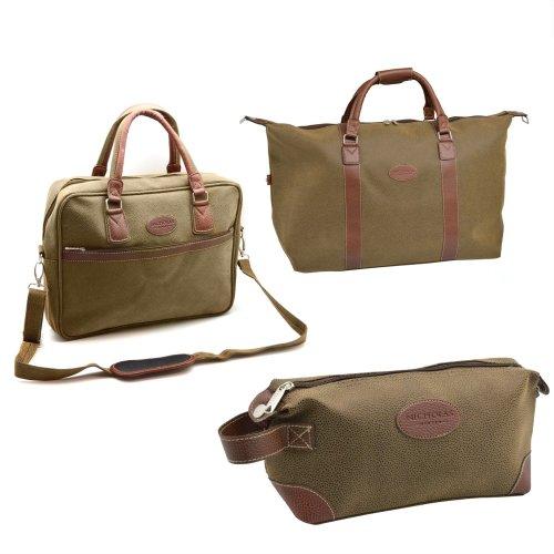 Mens Travel Bag Set Weekend Holdall Laptop Messenger Wash Toiletries Case Large
