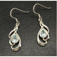 Real blue topaz pear drop earrings, solid Sterling silver, swirl.