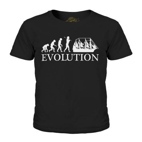 (Black, 7-8 Years) Candymix - Argosy Evolution Of Man - Unisex Kid's T-Shirt