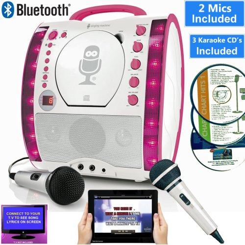 Singing Machine SML343 BLUETOOTH Pink Karaoke Machine, Lights, CD+G CD Player, Tablet/TV Displays Lyrics. Electric/Battery. 2 Mics, 7 CDs Party Pack 2