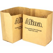 50 x Alina 6L to 8L Compostable Paper Caddy Bin Bag / Food Waste Bin Liner / Biodegradable Brown 7 Litre Paper Sack with Alina Composting Guide (50...