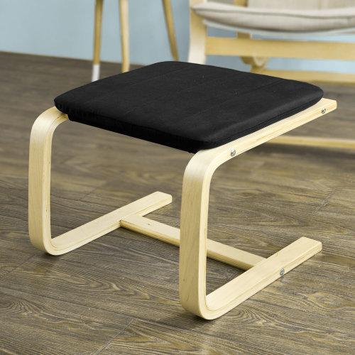 SoBuy® FST38-SCH, Bentwood Footstool Footrest Foot Leg Rest with Cushion