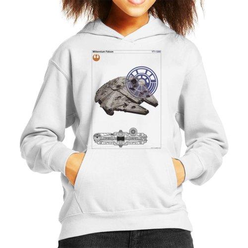 Star Wars Millenniumm Falcon Orthographic Kid's Hooded Sweatshirt