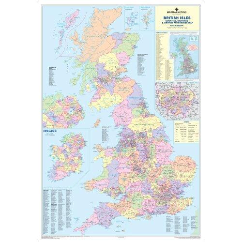 British Isles Counties Map - County Wall Map of UK and Ireland
