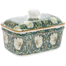 Pimpernel Fine China Ceramic Green Butter Dish w/ Bell Top Lid Dishwasher Safe
