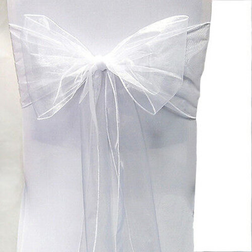 (#3 White, 100 Pcs) 10/25/50/100PCS Organza Chair Cover Sash Bow Wedding Party Reception Banquet Decor