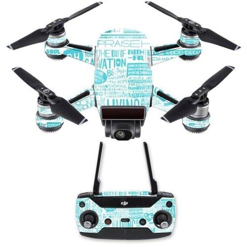 Mightyskins DJSPCMB-Faith Skin Decal Wrap for DJI Spark Mini Drone Combo Sticker - Faith