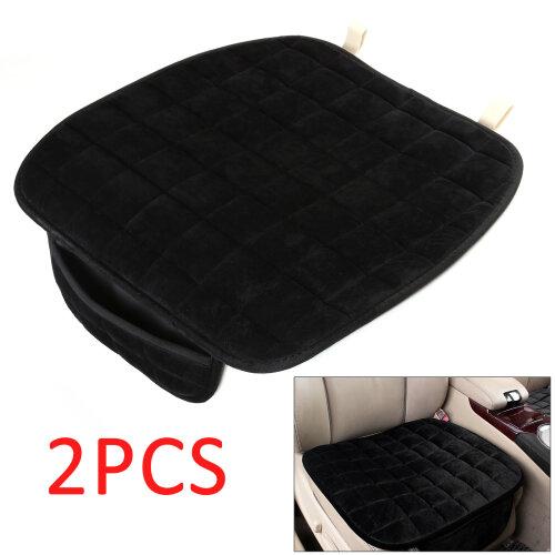 Durable 2X Auto Car Plush Front Seat Cover Pad Lattice Protector Cushions Mat UK