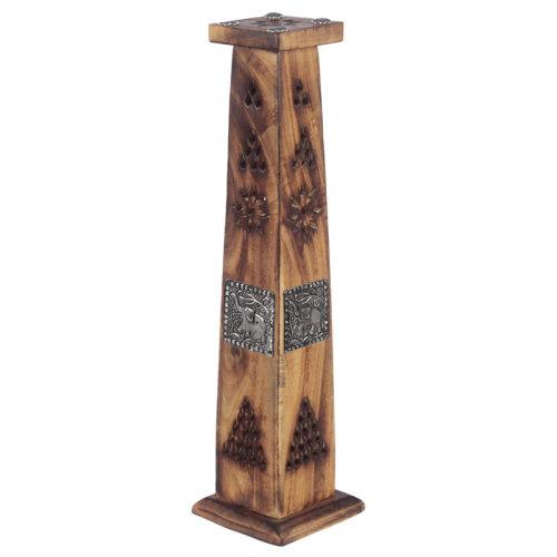 Decorative Elephant Inlay Wooden Tower Incense Burner Box