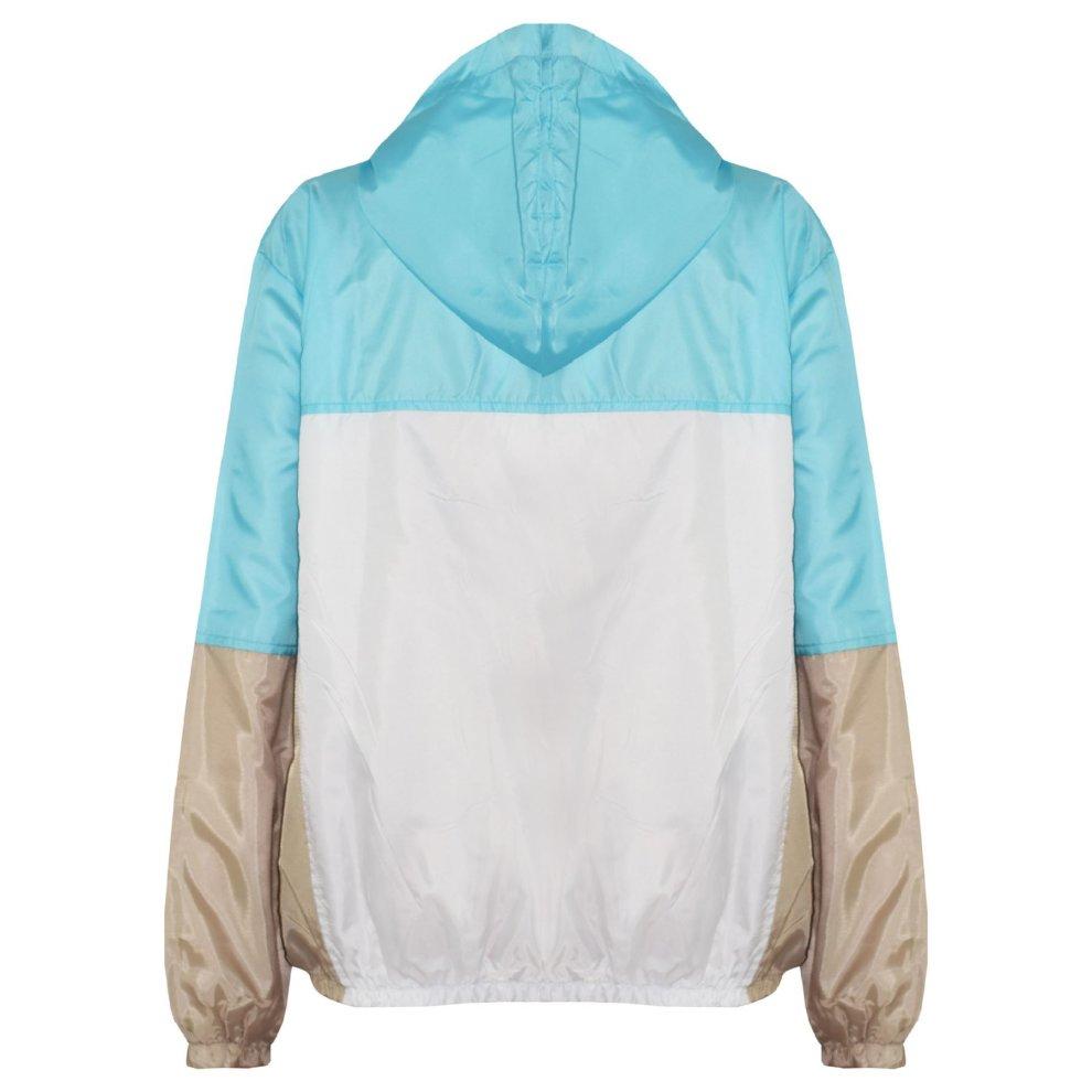 Kids Girls Boys Windbreaker Contrast Panel Navy Hooded Jackets Rain Mac Raincoat