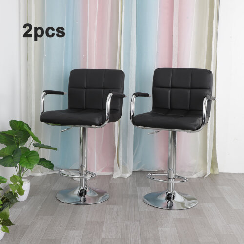 2x Bar stools Adjustable Swivel Kitchen Pub Leather Barstool with Arm