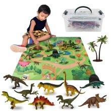 ASAB Realistic Dinosaur Toys Figures Playset with Play Mat & Trees Set