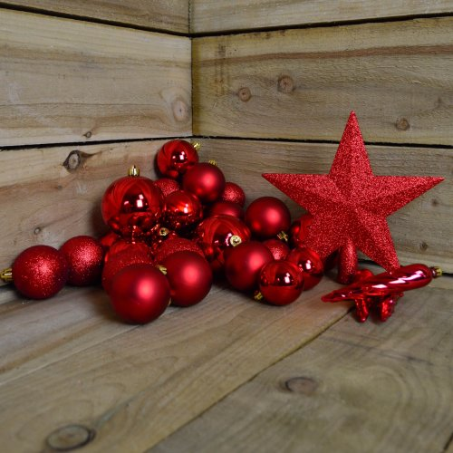 Shatter Proof Christmas Baubles in Red box of 33 including Red Tree Topper Star