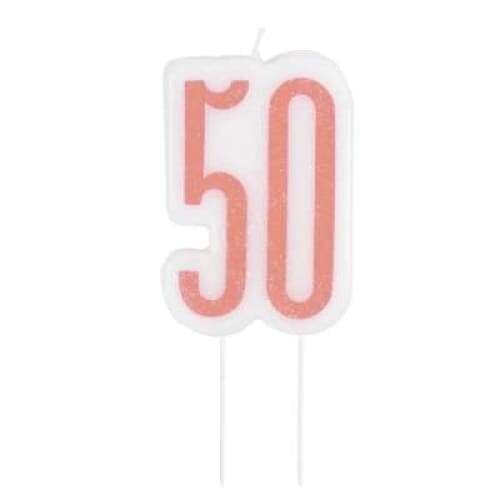 Rose Gold Glitz Number Age 50/50th Birthday Candle