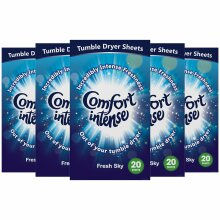 Comfort Tumble Dryer Sheets, Fresh Sky, 5 packs of 20 wash