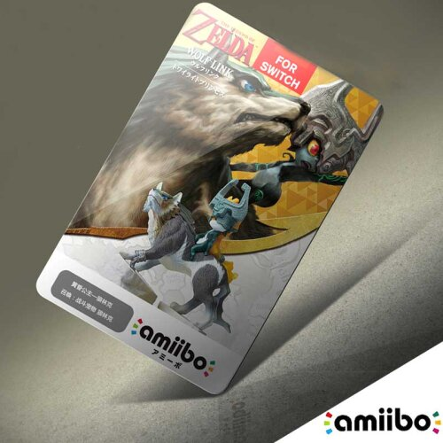 (20 HEARTS WOLF LINK) The Legend of Zelda Breath of the Wild Amiibo NFC TAG Card - Single Tag