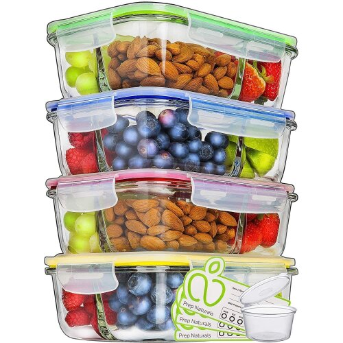 Glass Meal Prep Containers 3 Compartment (4 Pack, 1000ml)