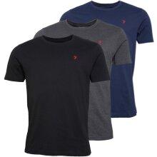 Mens Farah Quality T-Shirts 3 Pack Navy/Black/Grey