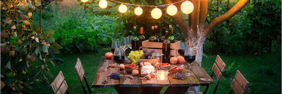 garden dinner with nightlights and wine