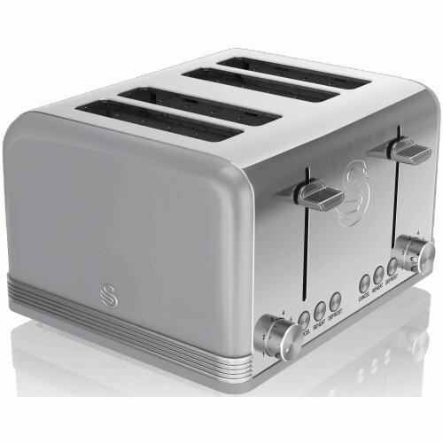 Swan ST19020GRN 4-Slice Retro Toaster, 1600 W, Grey
