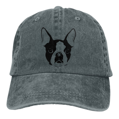 Boston Terrier Denim Baseball Caps