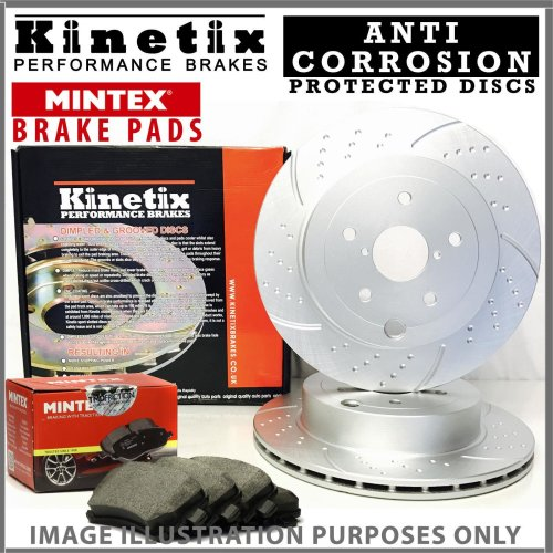 For Ford Kuga MK2 1.6 150HP -16 Front Dimpled Grooved Brake Discs Pads 320mm