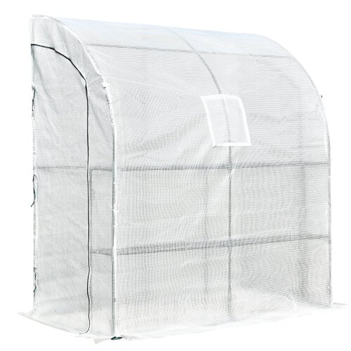 Outsunny Walk-In Greenhouse Tunnel Lean Wall Transparent 200x100x215cm