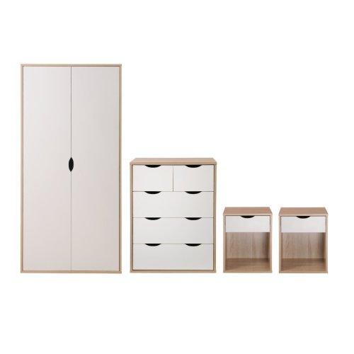 Alton 4 Piece Bedroom Furniture Set Oak & White Wardrobe Chest 2x Bedside Tables