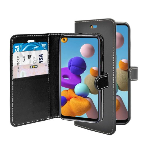 (Black) For Samsung Galaxy A21s Wallet Flip PU Leather Pouch Case Cover